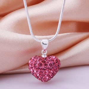 Fuschia Pink Heart Shamballa Necklace