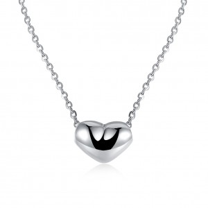 Raven Simple Heart 18K White Gold Plated