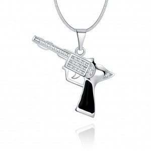 Revolver 18k White Gold Plated Gun Necklace