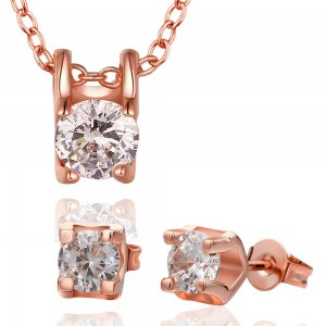Roxanne Diamond 18K Rose Gold Necklace and Earrings Set