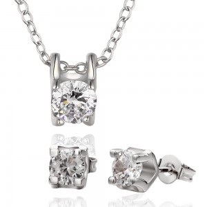 Roxanne Diamond 18K White Gold Plated Necklace and Earrings Set