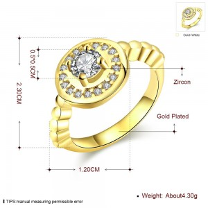 Royal Diamond 18K Gold Plated Ring