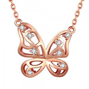 Savannah Butterfly Rose Gold Plated Necklace