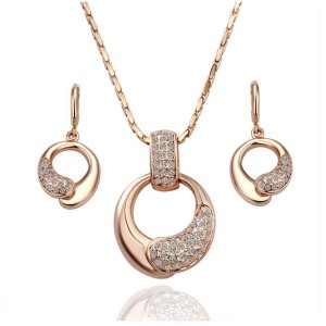 Shiela 18k Rosegold Plated Necklace and Earrings Set
