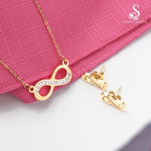 Elie Infinity with Stones Stainless Steel Gold Plated Set