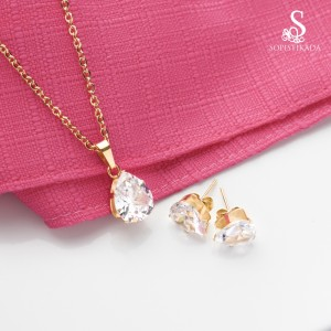 Hana One Stone Stainless Steel Gold Plated Set