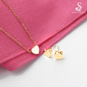 Micah Heart Stainless Steel Gold Plated Set