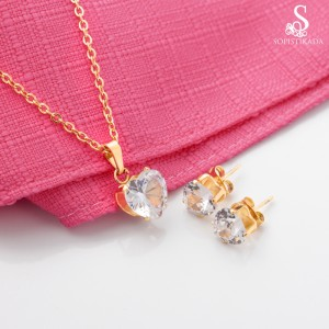 Sylvia Heart Stone Stainless Steel Gold Plated Set