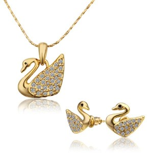 Swanzel 18k Gold Plated Necklace and Earrings Set