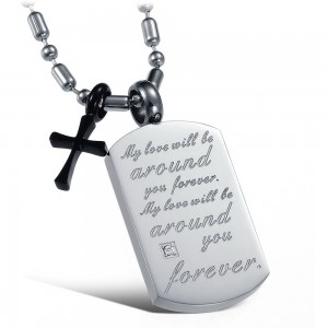 Tablet Forever  Necklace with Black Cross (Men)