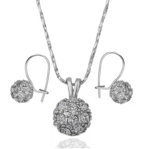 Tessa Stone Studded Ball White Gold Set