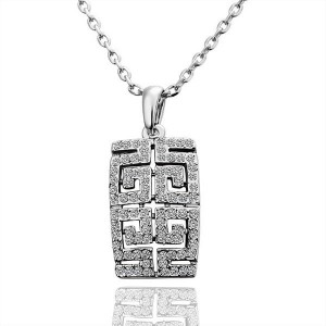 Tory Maze Necklace with Stones 18k White Gold Plated