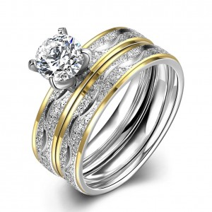 Tower Ring Dual Tone White Gold Plated
