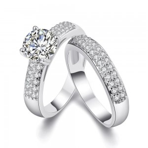 Tower Ring White Gold Plated