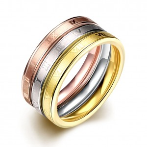 Tribeca Triple Tone Gold Plated Ring