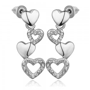 White Gold Plated Trina Heart Dangling Earrings