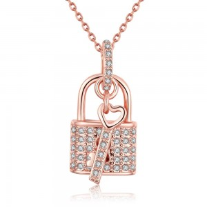 Tyra Lock and Key Rose Gold Plated Necklace