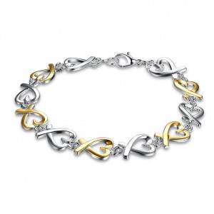 Winona Dual Tone Silver Plated Bracelet
