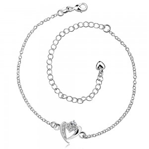 Amelia Heart 925 Silver Plated  Anklet
