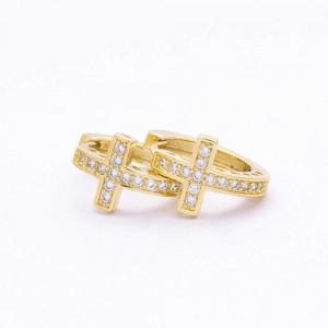 Avah 18K Gold Plated Cross Earrings