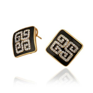 Blaire Black 18K Gold Plated Earrings