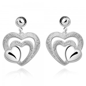 Francine Triple Heart Silver-Plated Earrings