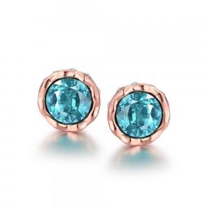 Korina Rose Gold Plated Earrings (Blue Stone)