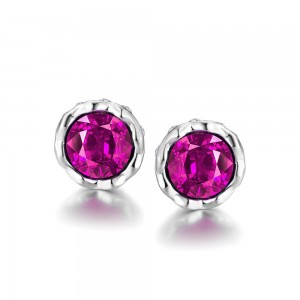 Korina White Gold Plated Earrings Pink Stone