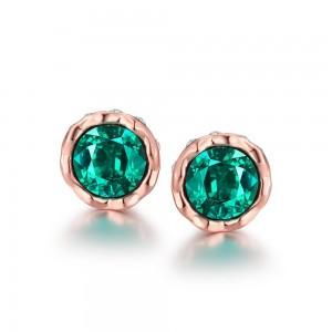 Korina Rose Gold Plated Earrings Green Stone