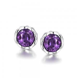 Korina White Gold Plated Earrings Violet Stone