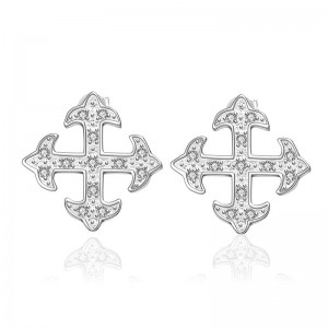 Zelda Cross 925 Silver Plated Earrings