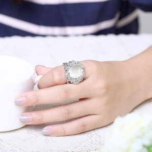 Viveca White Gold Plated Ring by Elite